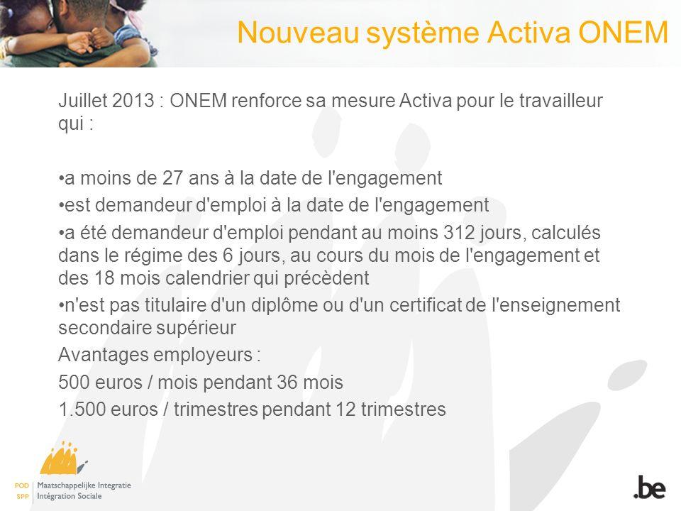 Nouveau système Activa ONEM Juillet 2013 : ONEM renforce sa mesure Activa pour le travailleur qui : a moins de 27 ans à la date de l engagement est demandeur d emploi à la date de l engagement a été demandeur d emploi pendant au moins 312 jours, calculés dans le régime des 6 jours, au cours du mois de l engagement et des 18 mois calendrier qui précèdent n est pas titulaire d un diplôme ou d un certificat de l enseignement secondaire supérieur Avantages employeurs : 500 euros / mois pendant 36 mois 1.500 euros / trimestres pendant 12 trimestres