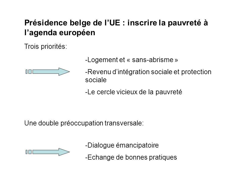 Présidence belge de lUE : inscrire la pauvreté à lagenda européen Trois priorités: -Logement et « sans-abrisme » -Revenu dintégration sociale et protection sociale -Le cercle vicieux de la pauvreté Une double préoccupation transversale: -Dialogue émancipatoire -Echange de bonnes pratiques