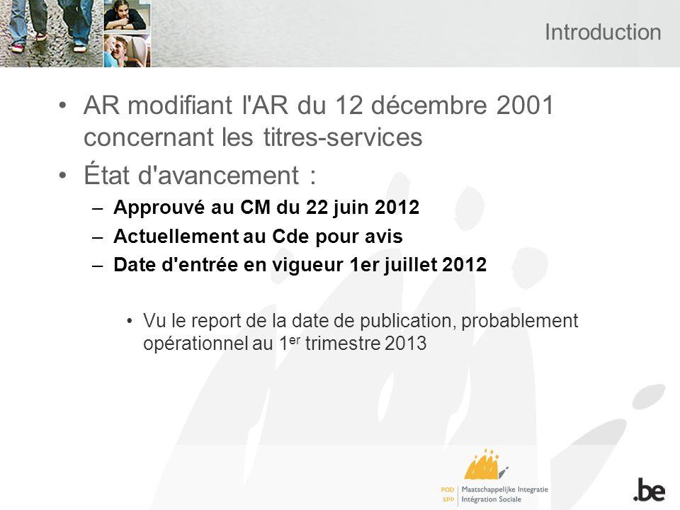 Introduction AR modifiant l'AR du 12 décembre 2001 concernant les titres-services État d'avancement : –Approuvé au CM du 22 juin 2012 –Actuellement au