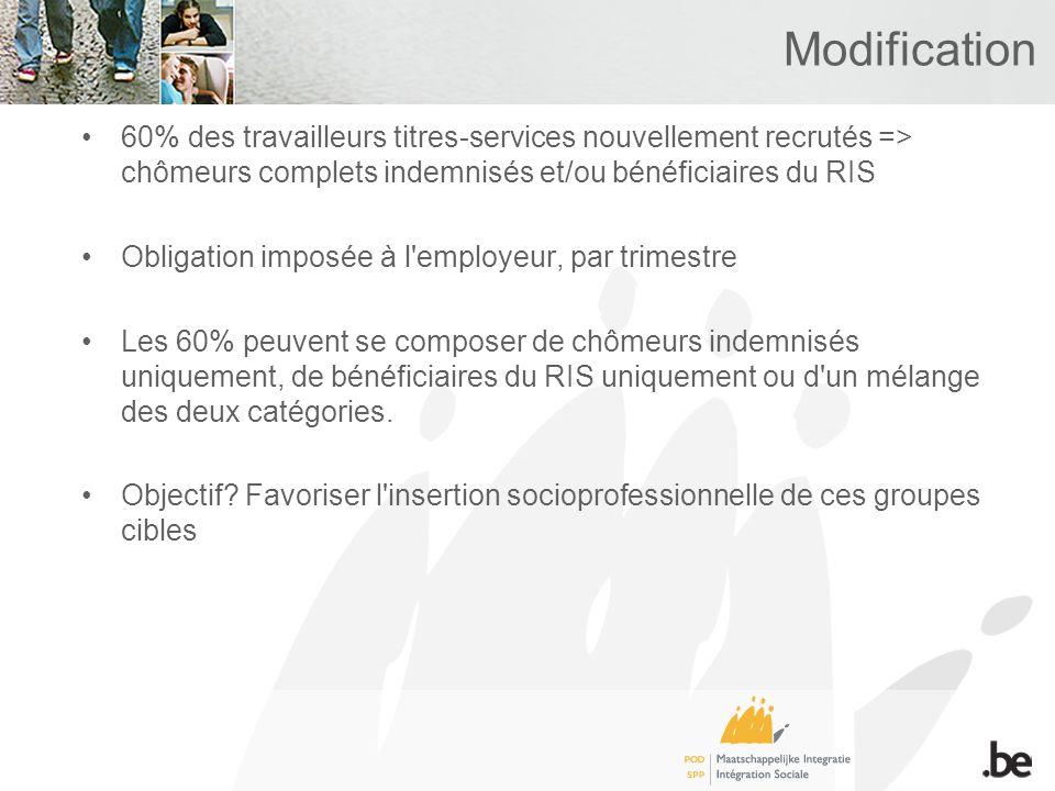 Modification 60% des travailleurs titres-services nouvellement recrutés => chômeurs complets indemnisés et/ou bénéficiaires du RIS Obligation imposée