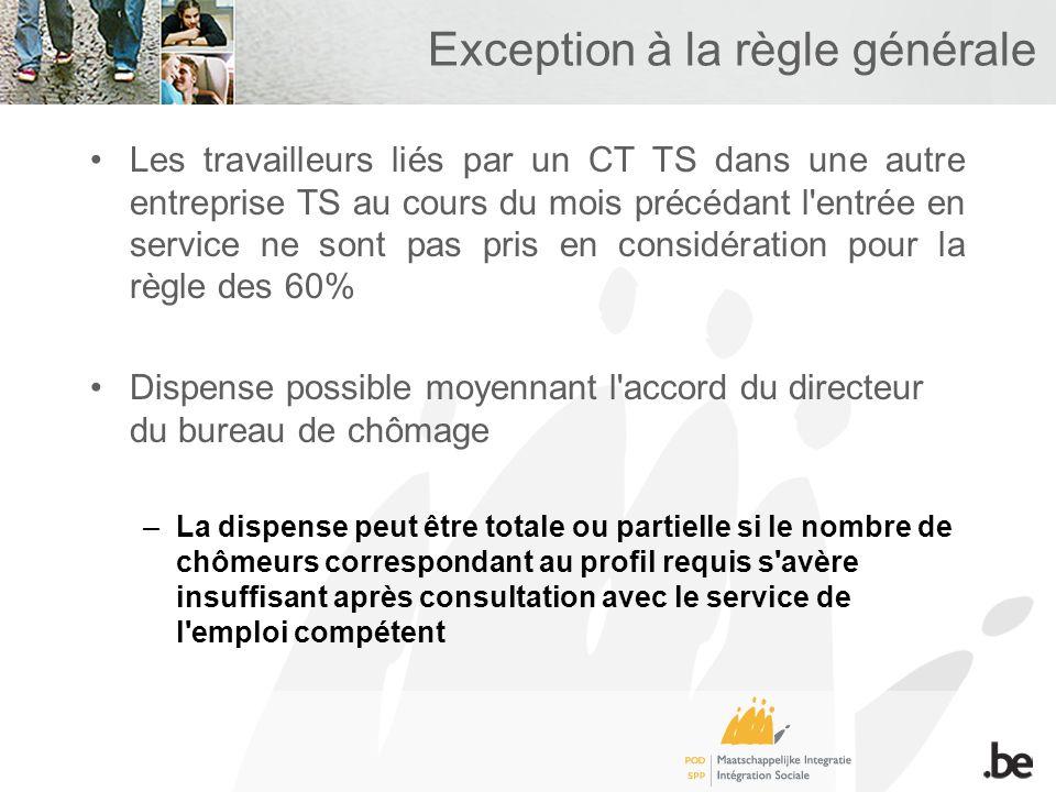 Exception à la règle générale Les travailleurs liés par un CT TS dans une autre entreprise TS au cours du mois précédant l'entrée en service ne sont p