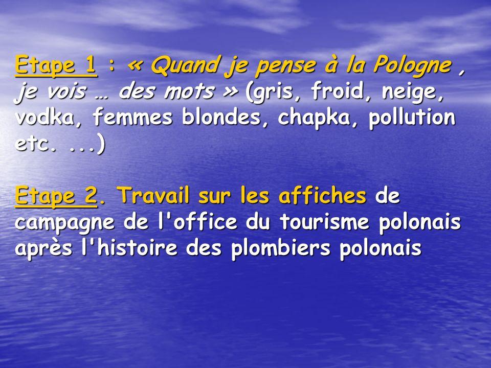 Etape 1 : « Quandje pense à la Pologne, je vois … des mots » (gris, froid, neige, vodka, femmes blondes, chapka, pollution etc....) Etape 2.
