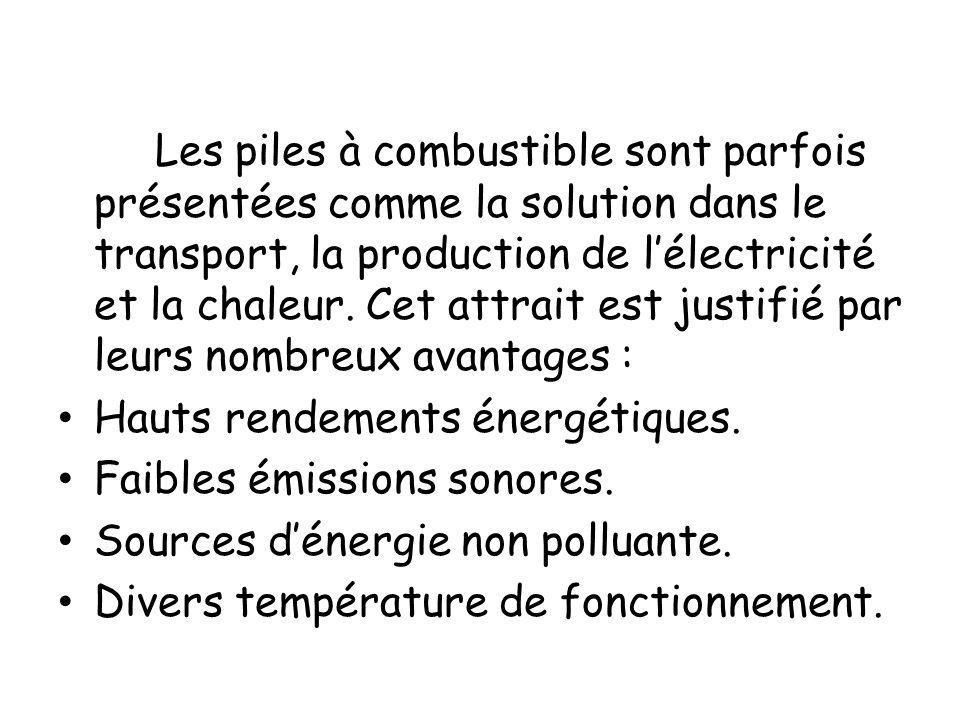 Les piles à combustible sont parfois présentées comme la solution dans le transport, la production de lélectricité et la chaleur. Cet attrait est just