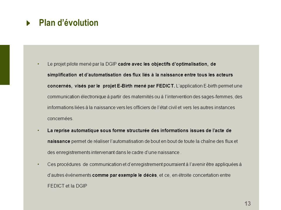 Plan dévolution Le projet pilote mené par la DGIP cadre avec les objectifs doptimalisation, de simplification et dautomatisation des flux liés à la na