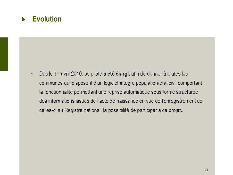 Evolution Dès le 1 er avril 2010, ce pilote a été élargi, afin de donner à toutes les communes qui disposent dun logiciel intégré population/état civi