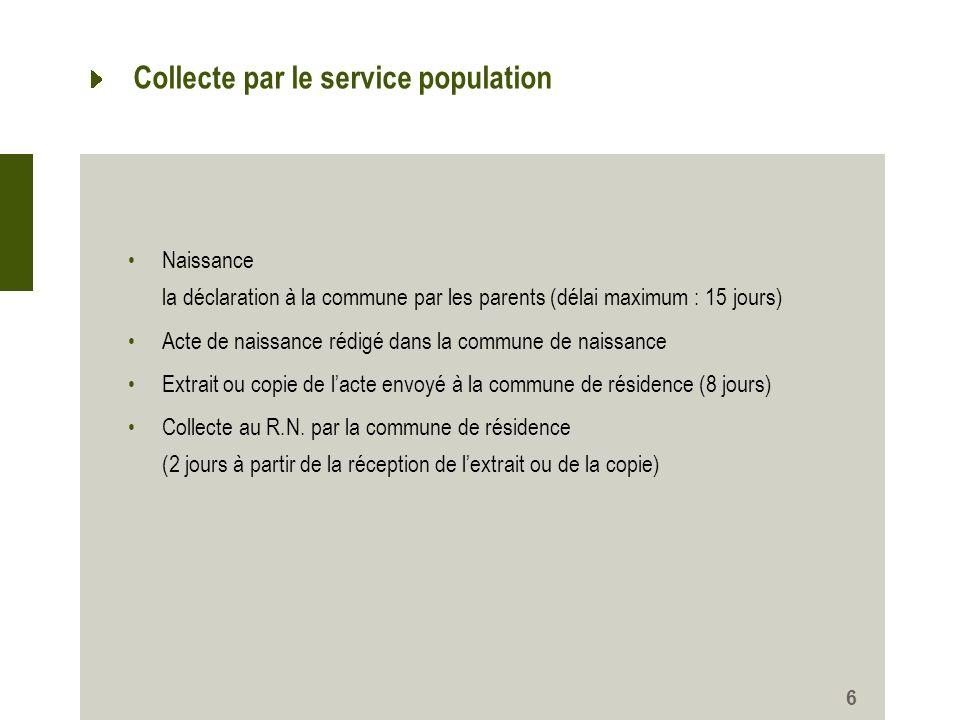 6 Collecte par le service population Naissance la déclaration à la commune par les parents (délai maximum : 15 jours) Acte de naissance rédigé dans la