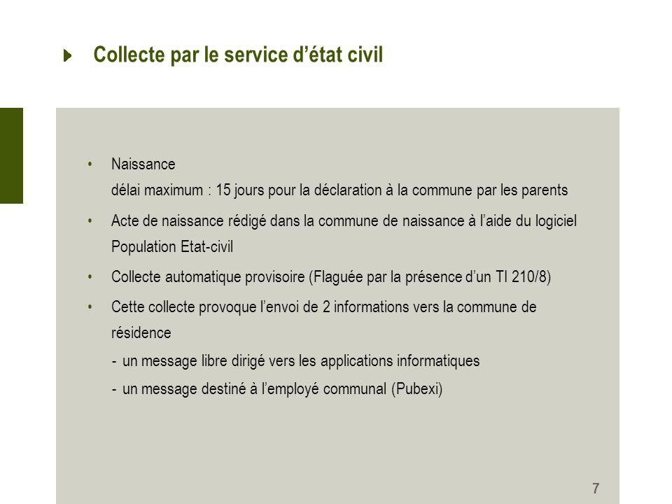 7 Collecte par le service détat civil Naissance délai maximum : 15 jours pour la déclaration à la commune par les parents Acte de naissance rédigé dan