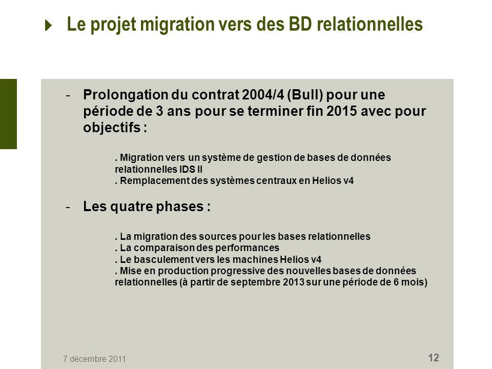 7 décembre 2011 12 Le projet migration vers des BD relationnelles -Prolongation du contrat 2004/4 (Bull) pour une période de 3 ans pour se terminer fin 2015 avec pour objectifs :.