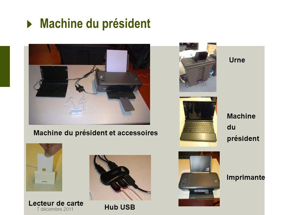 Machine du président 7 décembre 2011 Machine du président et accessoires Urne Machine du président Imprimante Lecteur de carte Hub USB