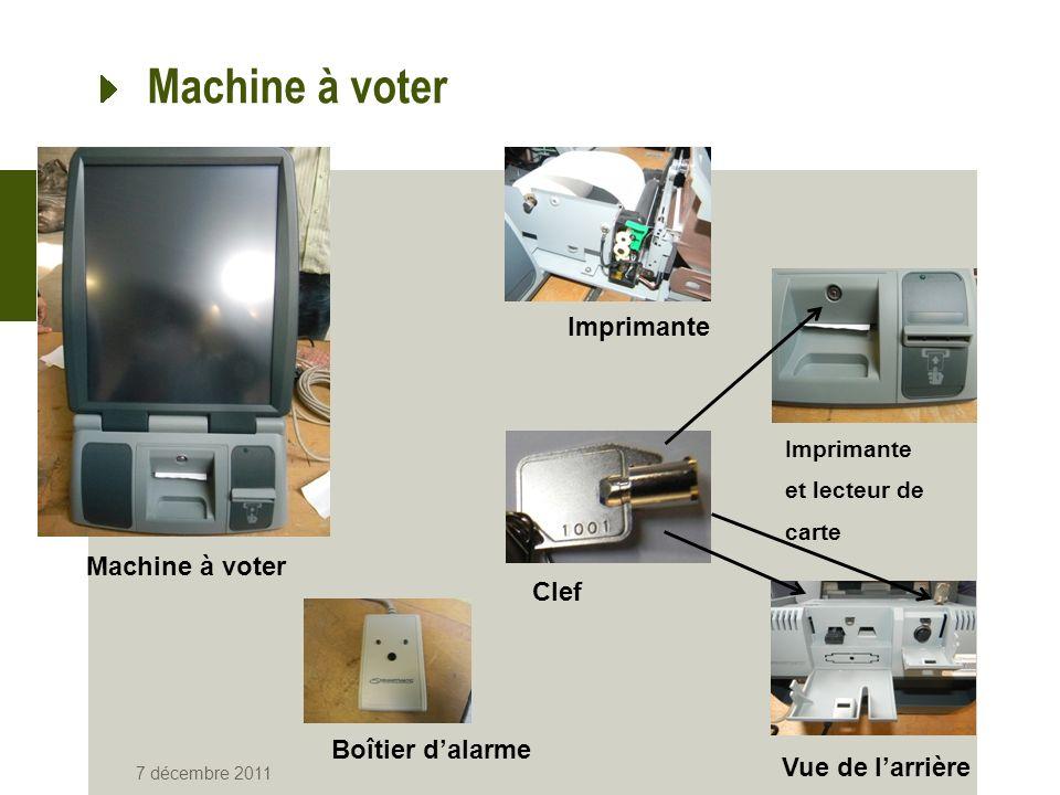 Machine à voter 7 décembre 2011 Machine à voter Boîtier dalarme Vue de larrière Imprimante Imprimante et lecteur de carte Clef