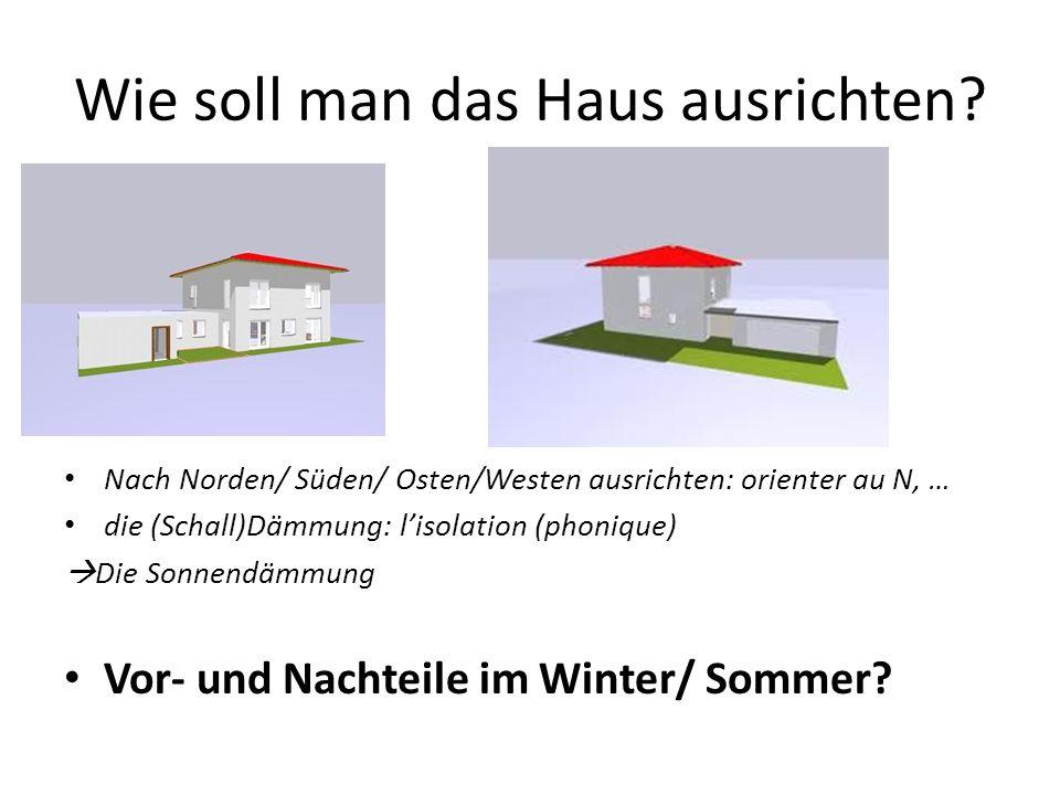 Wie soll man das Haus ausrichten? Nach Norden/ Süden/ Osten/Westen ausrichten: orienter au N, … die (Schall)Dämmung: lisolation (phonique) Die Sonnend