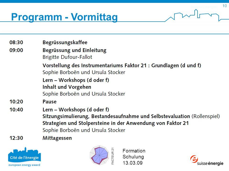 SuisseEnergie pour les communes 10 Formation Schulung 13.03.09 Programm - Vormittag