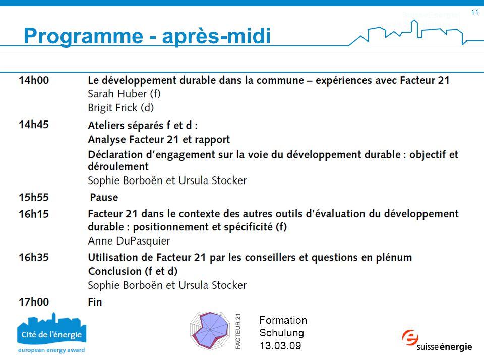 SuisseEnergie pour les communes 11 Formation Schulung 13.03.09 Programme - après-midi