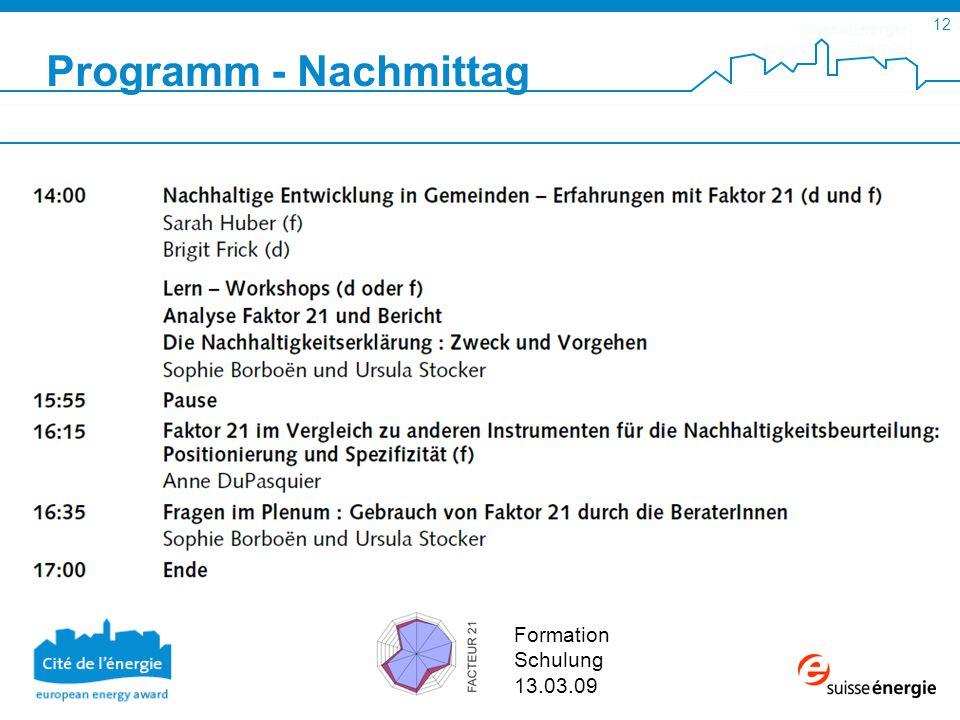 SuisseEnergie pour les communes 12 Formation Schulung 13.03.09 Programm - Nachmittag