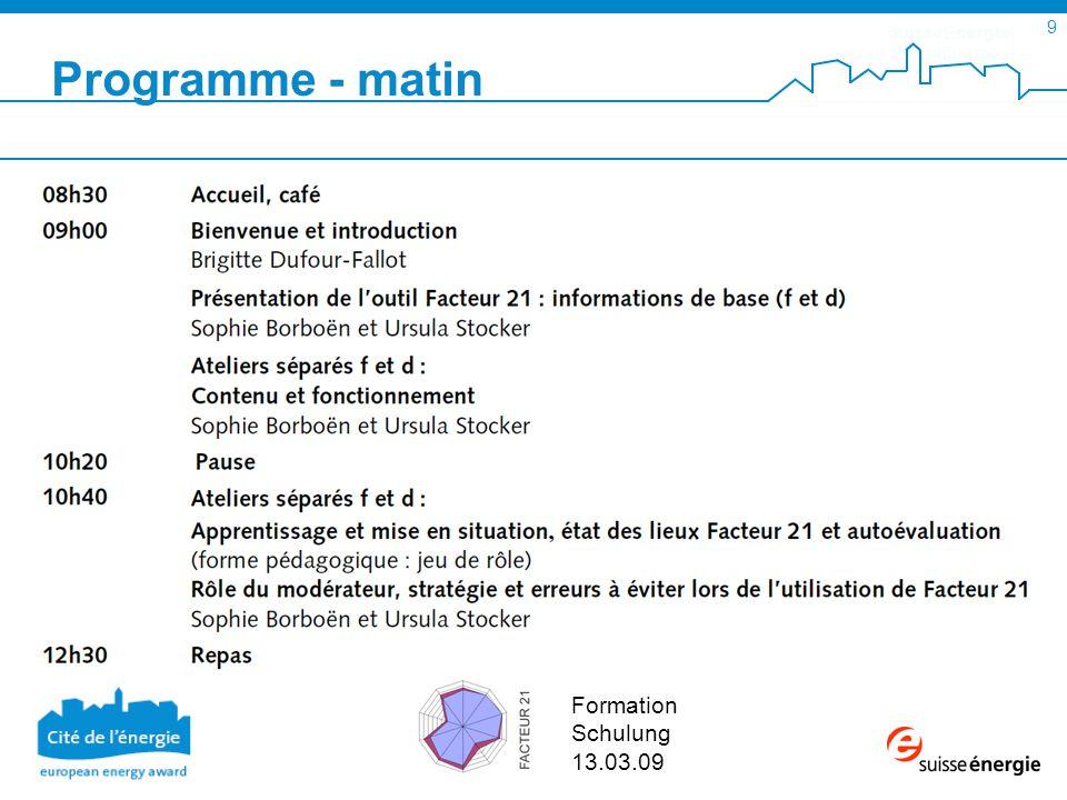 SuisseEnergie pour les communes 9 Formation Schulung 13.03.09 Programme - matin