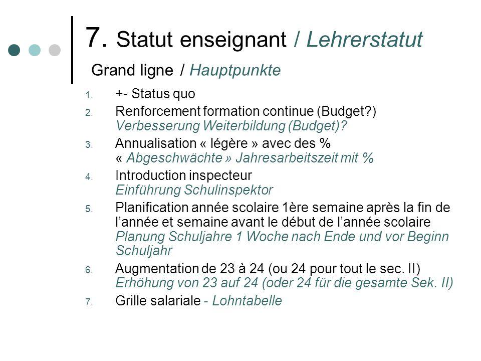 7. Statut enseignant / Lehrerstatut Grand ligne / Hauptpunkte 1. +- Status quo 2. Renforcement formation continue (Budget?) Verbesserung Weiterbildung