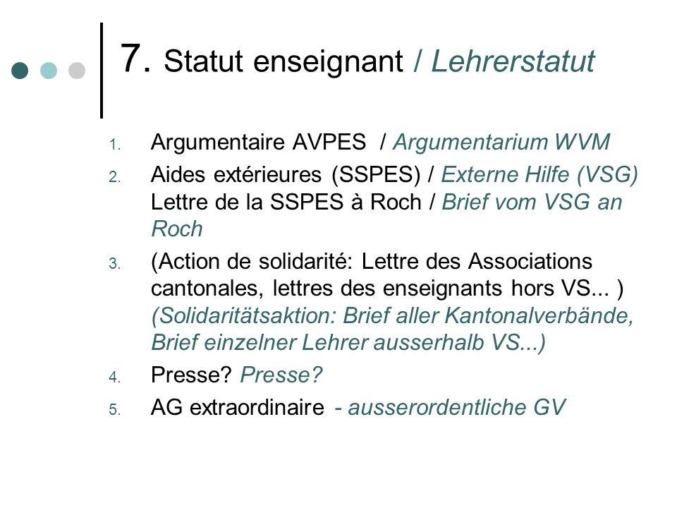 7. Statut enseignant / Lehrerstatut 1. Argumentaire AVPES / Argumentarium WVM 2. Aides extérieures (SSPES) / Externe Hilfe (VSG) Lettre de la SSPES à