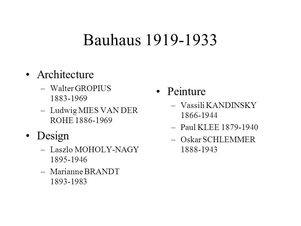 Bauhaus 1919-1933 Architecture –Walter GROPIUS 1883-1969 –Ludwig MIES VAN DER ROHE 1886-1969 Design –Laszlo MOHOLY-NAGY 1895-1946 –Marianne BRANDT 189