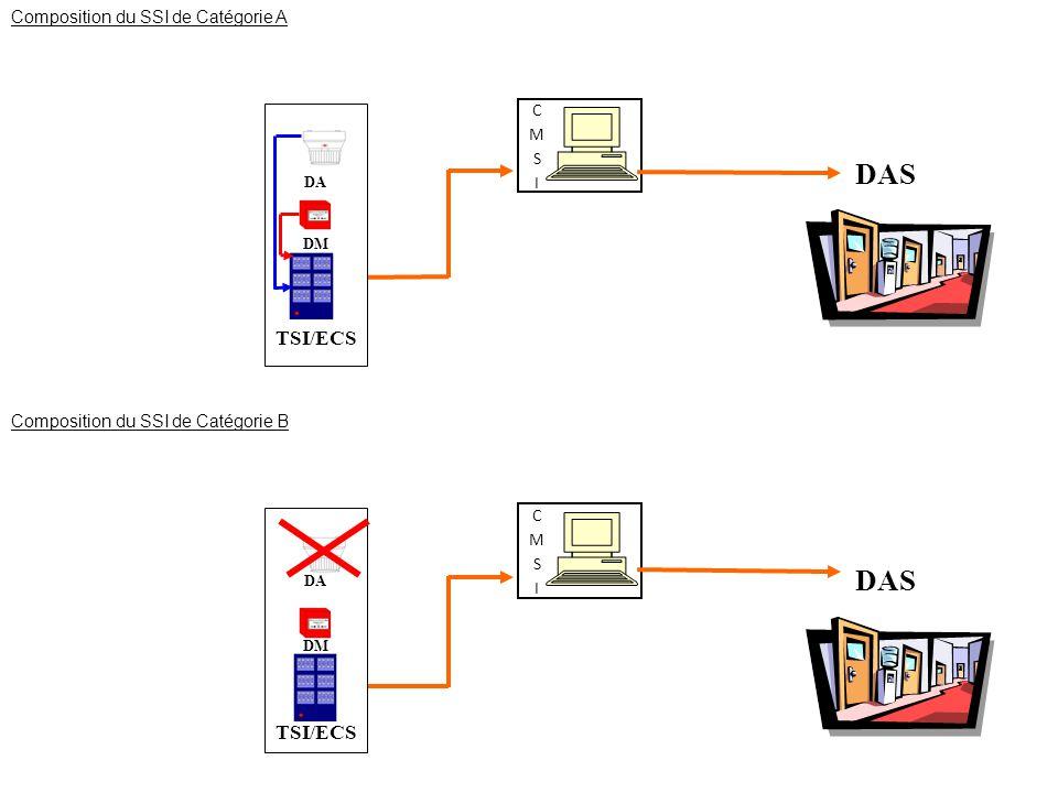 DAS DA DM TSI/ECS Composition du SSI de Catégorie A DAS DA DM TSI/ECS Composition du SSI de Catégorie B