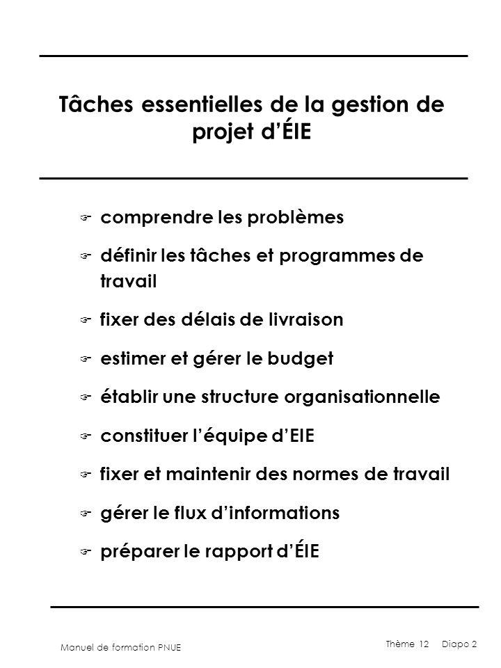 Manuel de formation PNUE Thème 12 Diapo 2 Tâches essentielles de la gestion de projet dÉIE F comprendre les problèmes F définir les tâches et programm