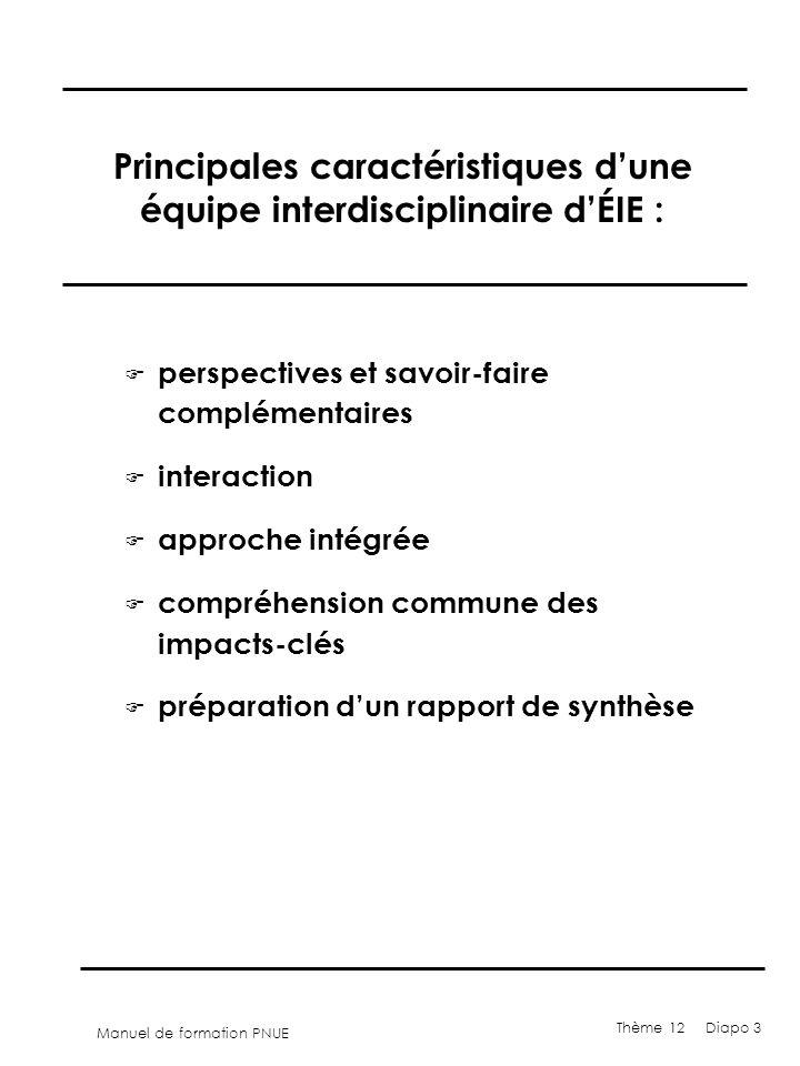 Manuel de formation PNUE Thème 12 Diapo 3 Principales caractéristiques dune équipe interdisciplinaire dÉIE : F perspectives et savoir-faire complément