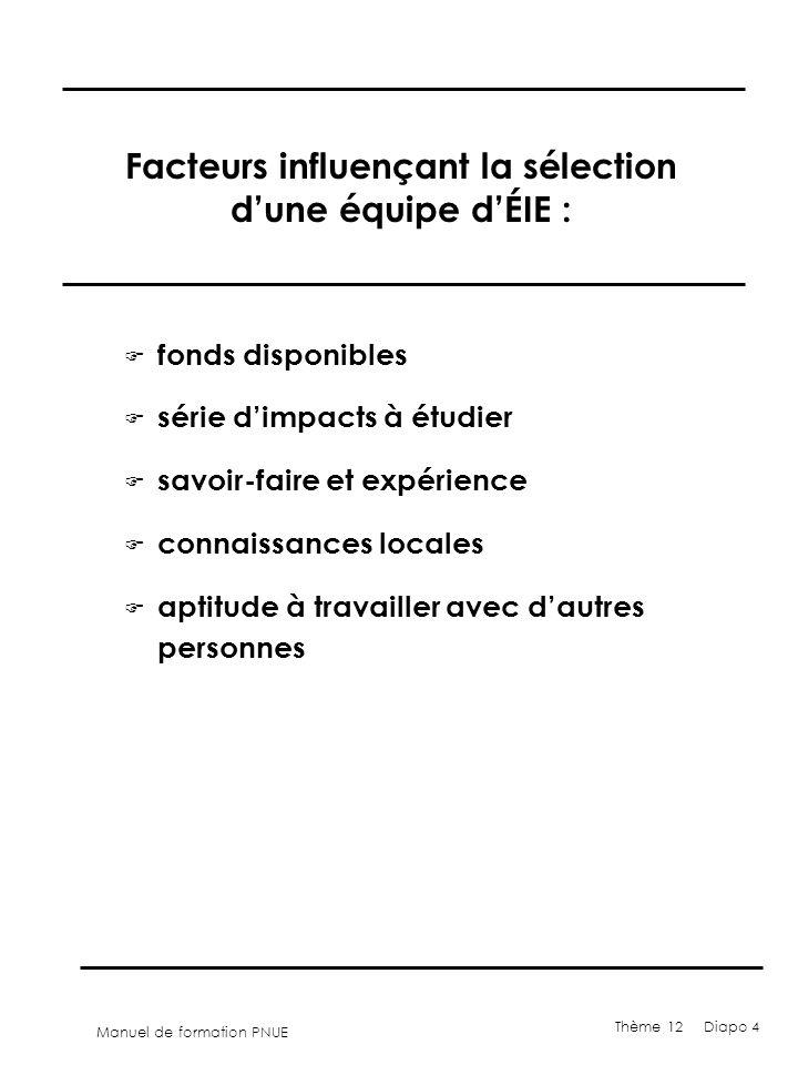 Manuel de formation PNUE Thème 12 Diapo 4 Facteurs influençant la sélection dune équipe dÉIE : F fonds disponibles F série dimpacts à étudier F savoir