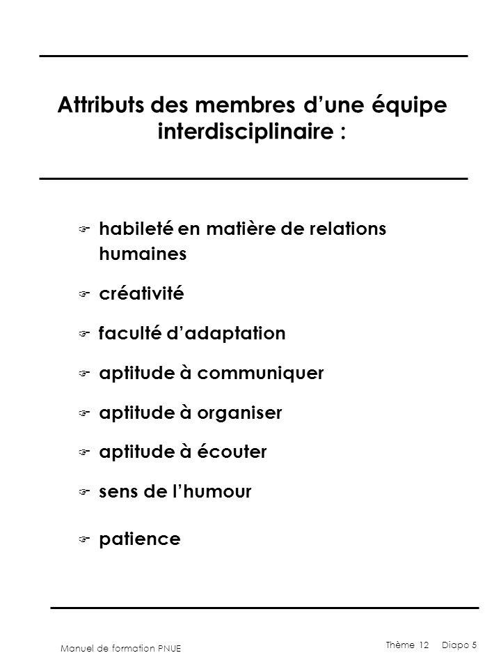 Manuel de formation PNUE Thème 12 Diapo 5 Attributs des membres dune équipe interdisciplinaire : F habileté en matière de relations humaines F créativ