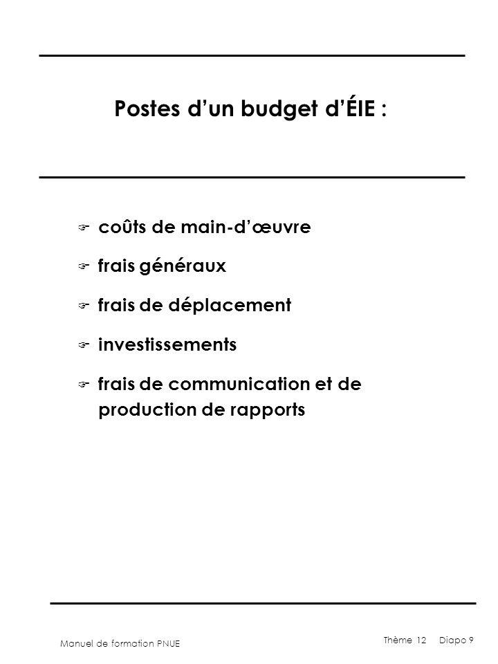 Manuel de formation PNUE Thème 12 Diapo 9 Postes dun budget dÉIE : F coûts de main-dœuvre F frais généraux F frais de déplacement F investissements F