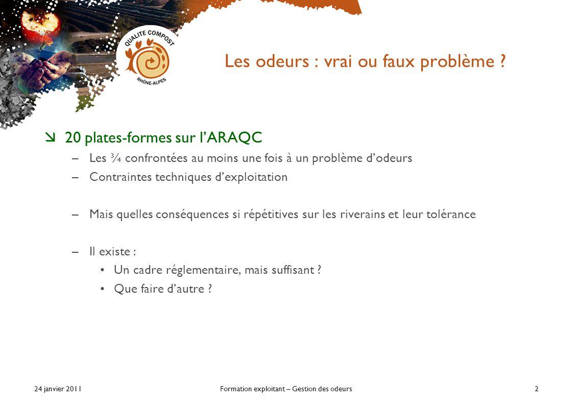 24 janvier 2011Formation exploitant – Gestion des odeurs2 Les odeurs : vrai ou faux problème .