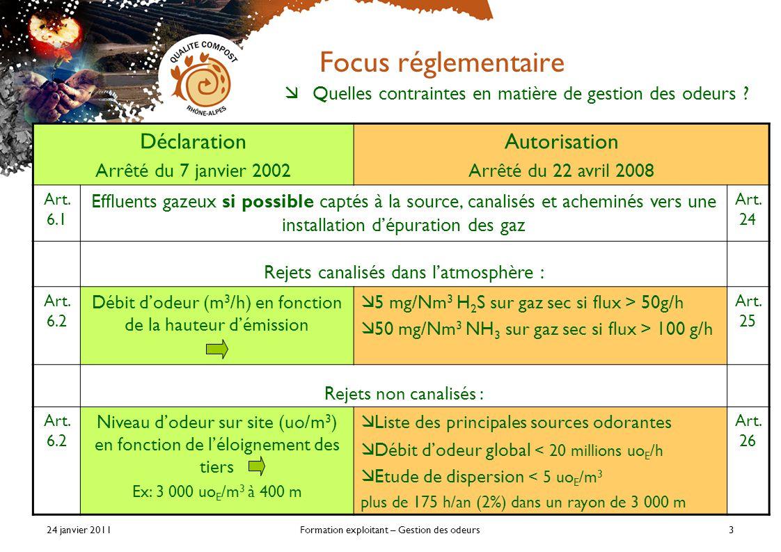 24 janvier 2011Formation exploitant – Gestion des odeurs3 Focus réglementaire Déclaration Arrêté du 7 janvier 2002 Autorisation Arrêté du 22 avril 2008 Art.