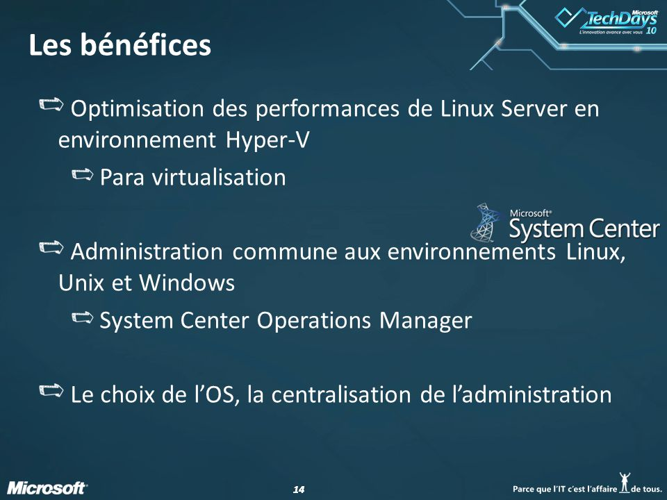 14 Les bénéfices Optimisation des performances de Linux Server en environnement Hyper-V Para virtualisation Administration commune aux environnements Linux, Unix et Windows System Center Operations Manager Le choix de lOS, la centralisation de ladministration