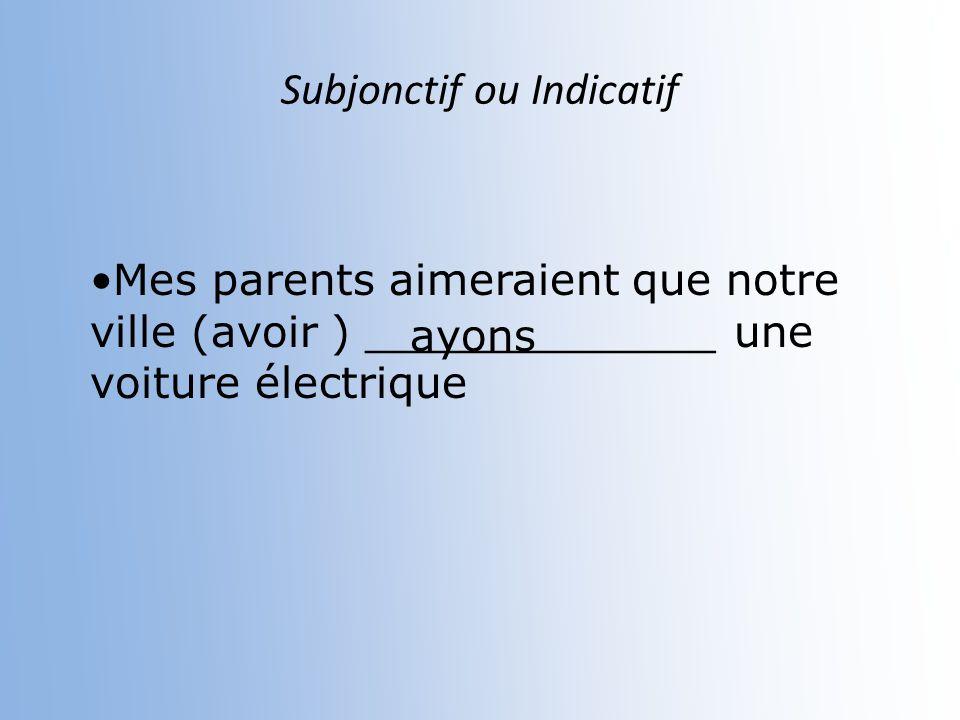 Subjonctif ou Indicatif Je pense que vous (comprendre)________________ leffet des gaz àeffet de xerre.. comprenez