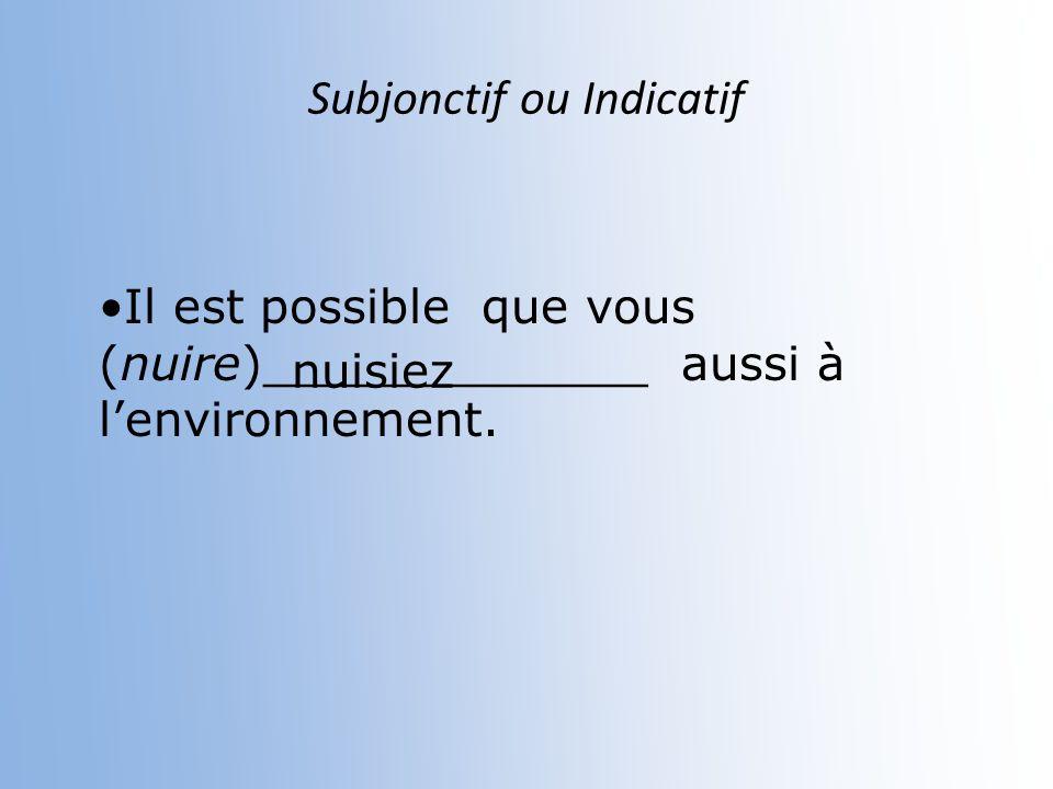Subjonctif ou Indicatif Il est douteux que nous ne (être)__________ pasun facteur dans le gaspillage mondial. soyons
