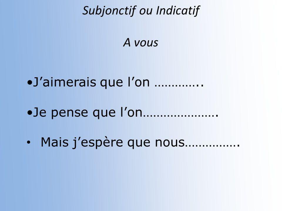 Subjonctif ou Indicatif Il est possible que vous (nuire)_____________ aussi à lenvironnement. nuisiez