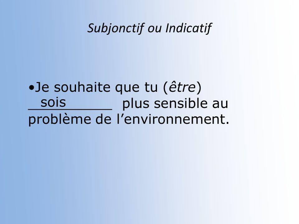 Subjonctif ou Indicatif Je ne veux pas quelle (faire) __________ des déchets nuisibles pour lenvironnement fasse