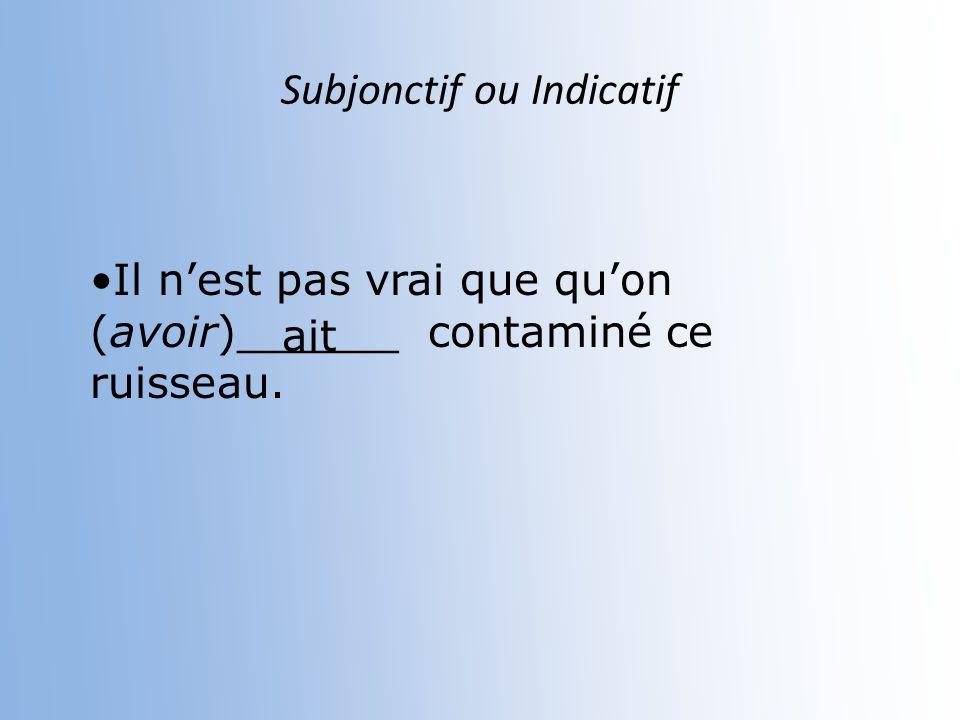 Subjonctif ou Indicatif Jespère que tu m (recycler) ______________tes déchets ménagers recycleras