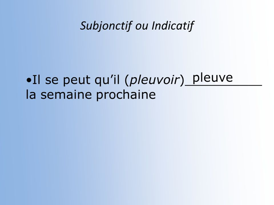 Subjonctif ou indicatif FIN