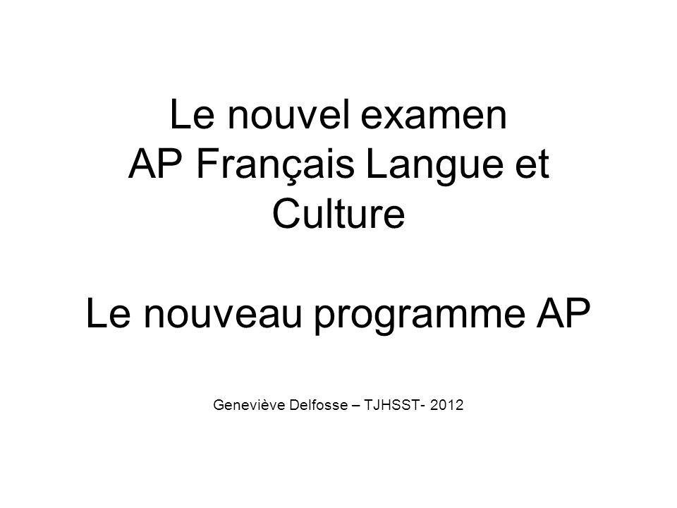 Le nouvel examen AP Français Langue et Culture Le nouveau programme AP Geneviève Delfosse – TJHSST- 2012