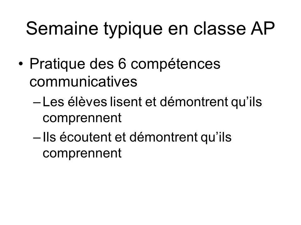 Semaine typique en classe AP Pratique des 6 compétences communicatives –Les élèves lisent et démontrent quils comprennent –Ils écoutent et démontrent