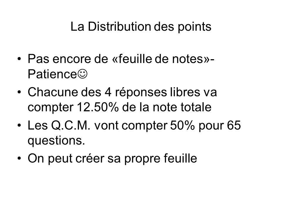 La Distribution des points Pas encore de «feuille de notes»- Patience Chacune des 4 réponses libres va compter 12.50% de la note totale Les Q.C.M. von