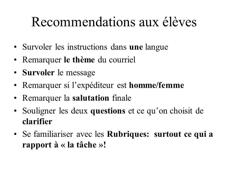 Recommendations aux élèves Survoler les instructions dans une langue Remarquer le thème du courriel Survoler le message Remarquer si lexpéditeur est h