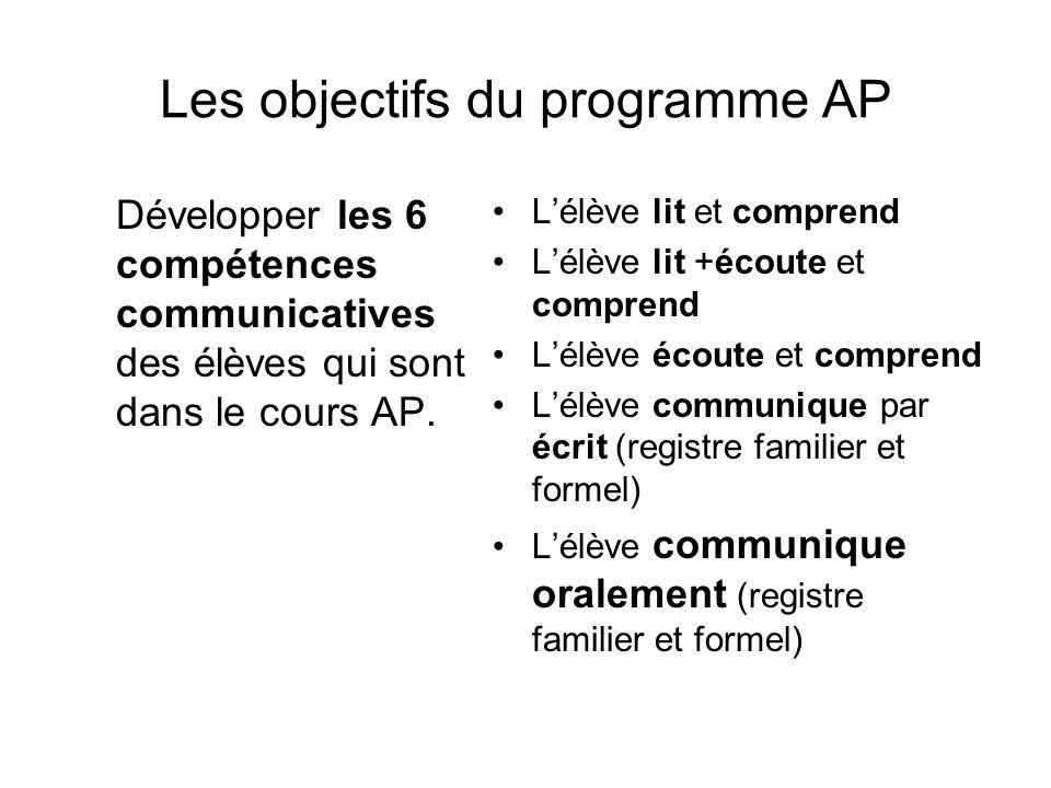 Les objectifs du programme AP Développer les 6 compétences communicatives des élèves qui sont dans le cours AP. Lélève lit et comprend Lélève lit +éco