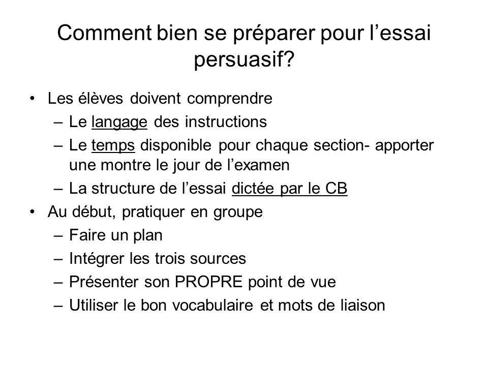 Comment bien se préparer pour lessai persuasif? Les élèves doivent comprendre –Le langage des instructions –Le temps disponible pour chaque section- a
