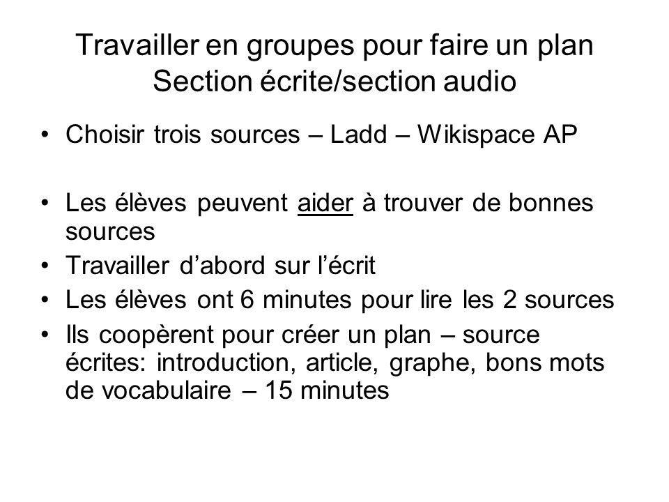 Travailler en groupes pour faire un plan Section écrite/section audio Choisir trois sources – Ladd – Wikispace AP Les élèves peuvent aider à trouver d