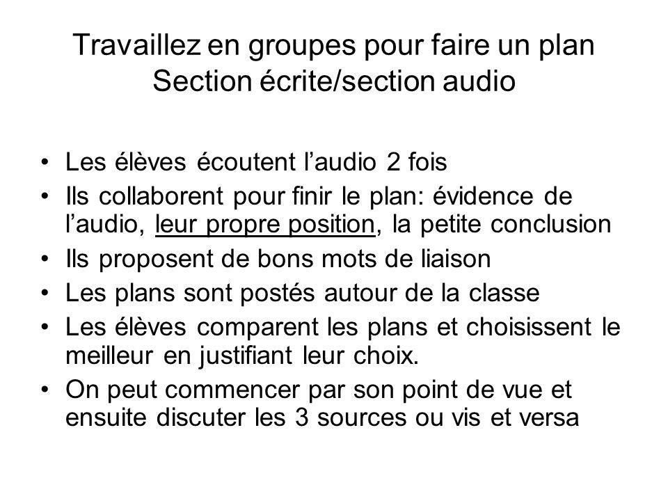 Travaillez en groupes pour faire un plan Section écrite/section audio Les élèves écoutent laudio 2 fois Ils collaborent pour finir le plan: évidence d
