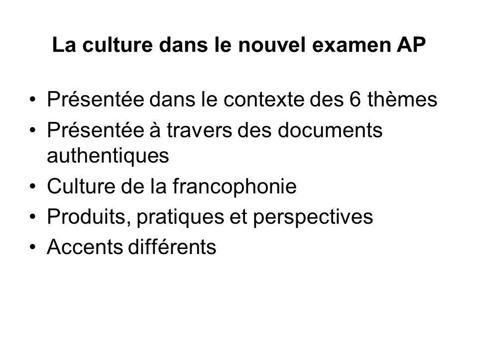 La culture dans le nouvel examen AP Présentée dans le contexte des 6 thèmes Présentée à travers des documents authentiques Culture de la francophonie