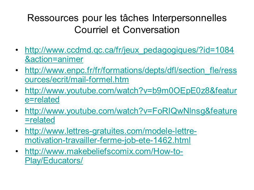 Ressources pour les tâches Interpersonnelles Courriel et Conversation http://www.ccdmd.qc.ca/fr/jeux_pedagogiques/?id=1084 &action=animerhttp://www.cc