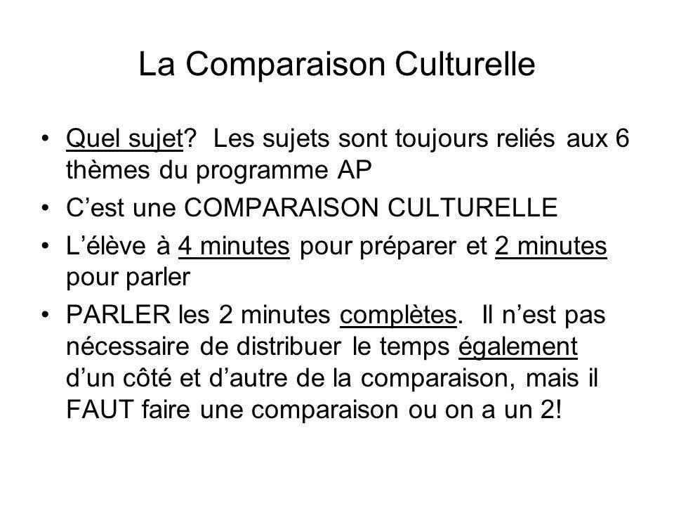 La Comparaison Culturelle Quel sujet? Les sujets sont toujours reliés aux 6 thèmes du programme AP Cest une COMPARAISON CULTURELLE Lélève à 4 minutes