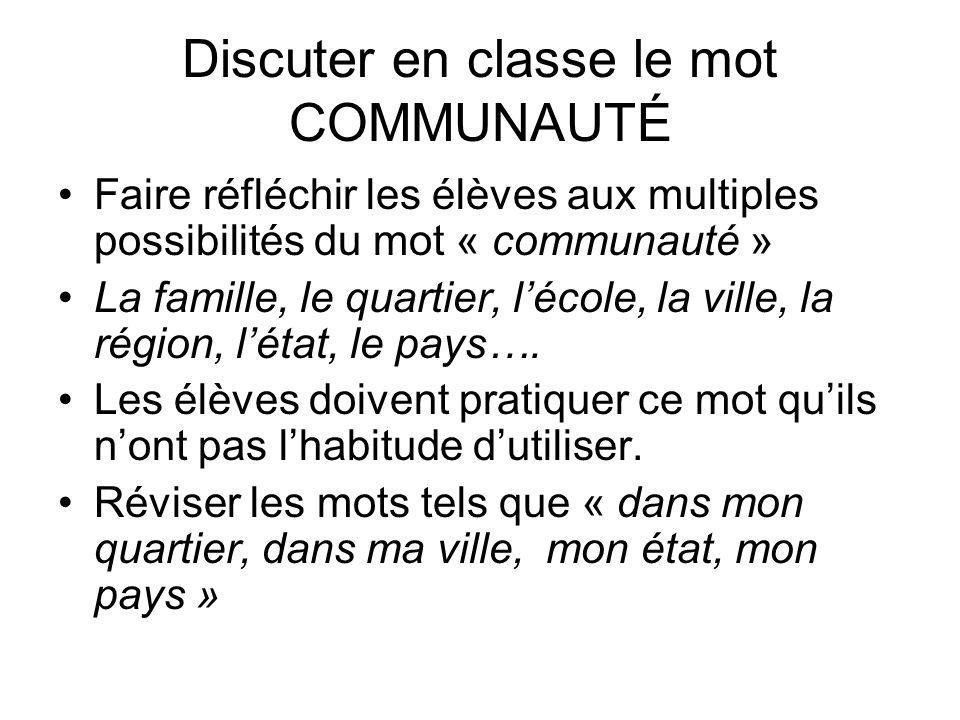 Discuter en classe le mot COMMUNAUTÉ Faire réfléchir les élèves aux multiples possibilités du mot « communauté » La famille, le quartier, lécole, la v