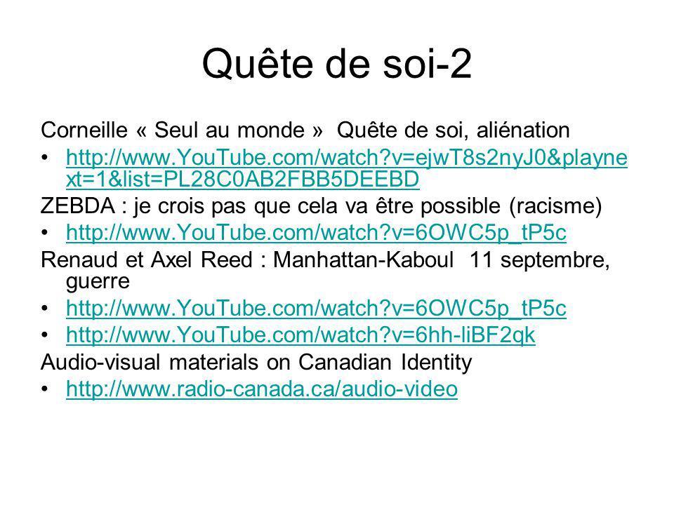 Quête de soi-2 Corneille « Seul au monde » Quête de soi, aliénation http://www.YouTube.com/watch?v=ejwT8s2nyJ0&playne xt=1&list=PL28C0AB2FBB5DEEBDhttp